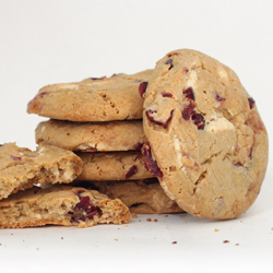 Stack of White Chocolate Cookies with Cranberries
