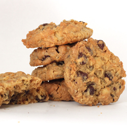 Stack of Chocolate Cookies with Coconut Macadamia Nuts