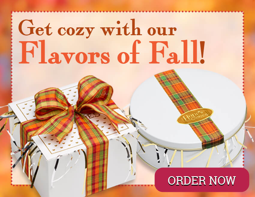 Enjoy all of the Flavors of Fall with our autumn-themed cookie boxes & tins!