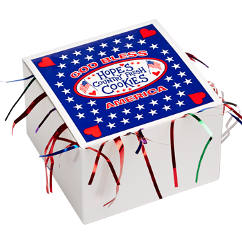 God Bless America Cookie Gift Box with Tinsel