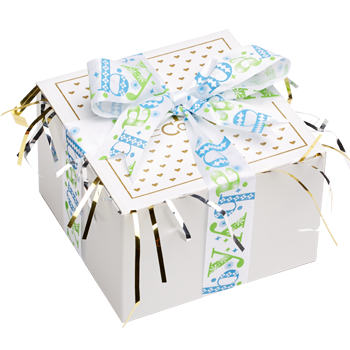 Baby Boy Cookie Gift Box with Ribbon