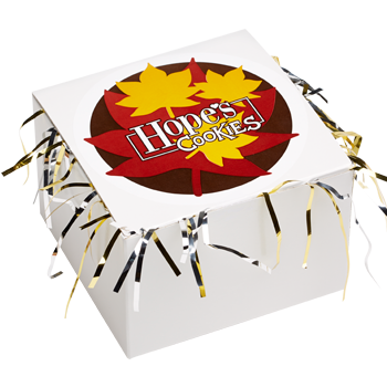 Fall Leaves Cookie Gift Box with Tinsel