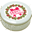 Christmas Wreath Cookie Gift Tin in White