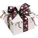 Hearts Cookie Gift Box with Black Ribbon