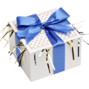 Festive Cookie Gift Box with Blue Ribbon