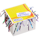 Happy Birthday Cookie Gift Box with Tinsel