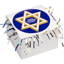 Star of David Cookie Gift Box with Tinsel