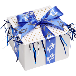 Star of David Cookie Gift Box with Ribbon