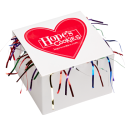 Red Heart Cookie Gift Box with Tinsel