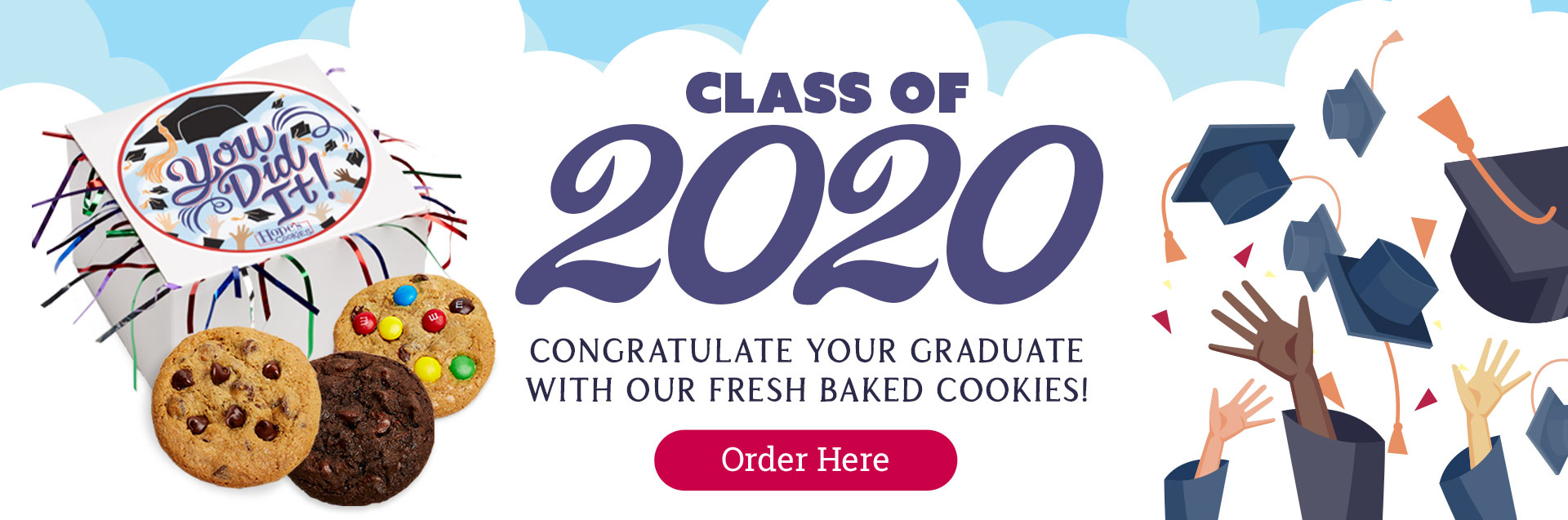 Congratulate your graduate with fresh baked cookies