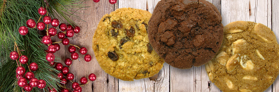 A Chocolate Cookie, A White Chocolate Cookie and A Oatmeal Raisin Cookie